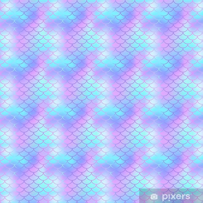 c14ddcd7 Spesialtilpasset vinyltapet Kule blå fisk skala mønster vektor tekstur. havfrue  sømløs mønster fliser. -