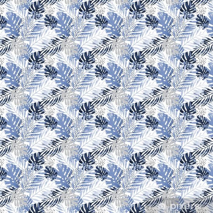 Ilustracja: modne tropikalny liści wypełnione akwarela tekstury marmuru grunge, doodle elementy tła.