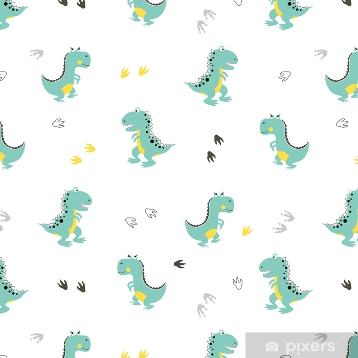 Cute Dinosaurs Pattern Vector Cartoon Dino Background