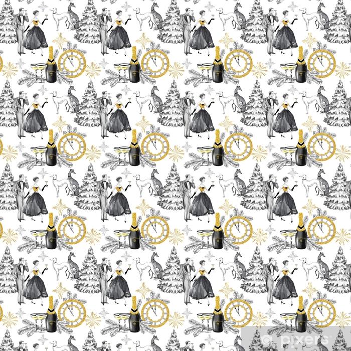 Papel pintado estándar a medida Acuarela de patrones sin fisuras en estilo retro de oro. hermosa pareja, botella de champán, gafas, perros galgo, reloj de joyería y celebrar accesorios. Ilustración de año nuevo vintage. - Religiones y culturas
