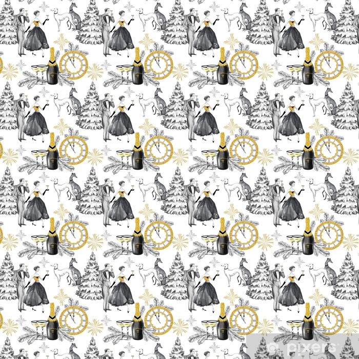 Watercolor seamless pattern in retro gold style. Beautiful couple, bottle of Champagne, glasses, Greyhound dogs, jewellery clock and celebrate accessories. Vintage New Year illustration. Vinyl custom-made wallpaper - Culture and Religion