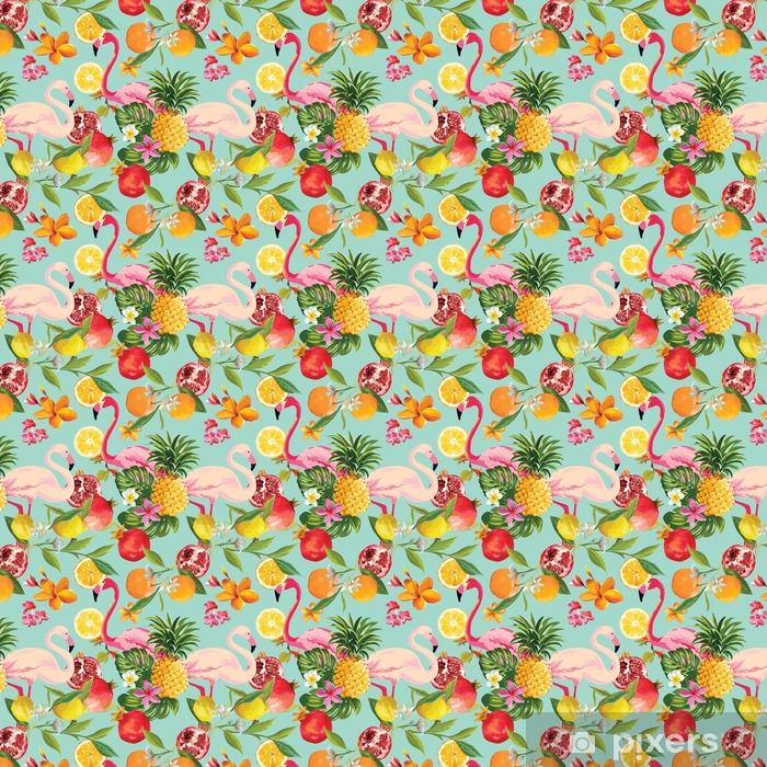Seamless Tropical Fruits and Flamingo Pattern in Vector. Pomegranate, Lemon, Orange Flowers, Leaves and Fruits Background. Vinyl custom-made wallpaper - Animals