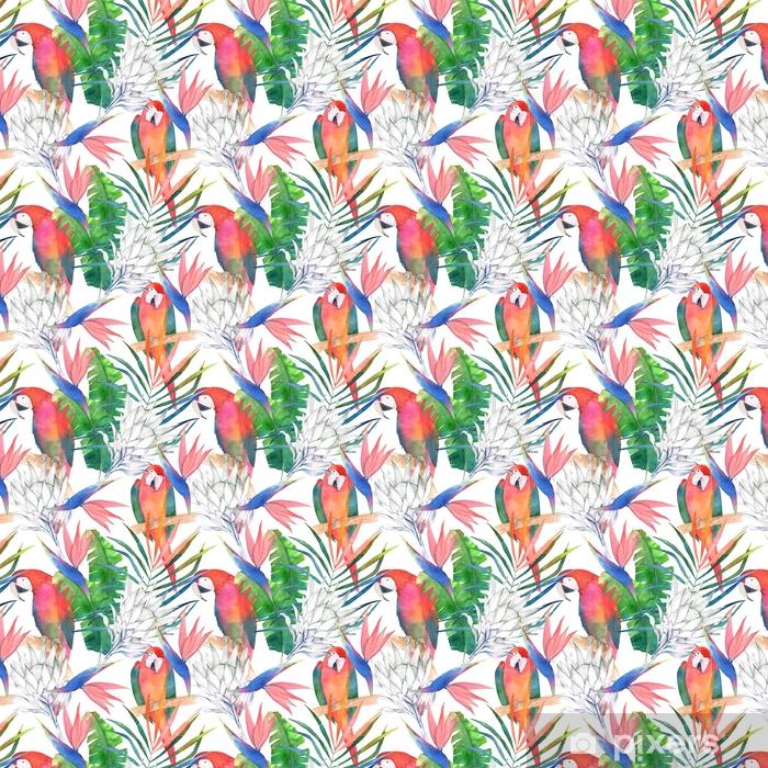 Vinyltapete nach Maß Tropisches nahtloses Muster mit Papageien, Protea und Blättern. Aquarell Sommer drucken. exotische Hand gezeichnete Illustration - Grafische Elemente