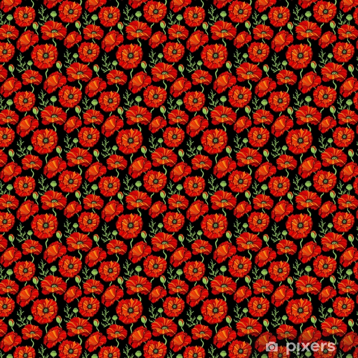 Seamless pattern with red poppy flowers. Floral background Vinyl custom-made wallpaper - Plants and Flowers