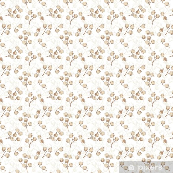 Vinyl behang, op maat gemaakt Katoenplant grafisch beige kleur naadloze patroon schets illustratie vector - Grafische Bronnen