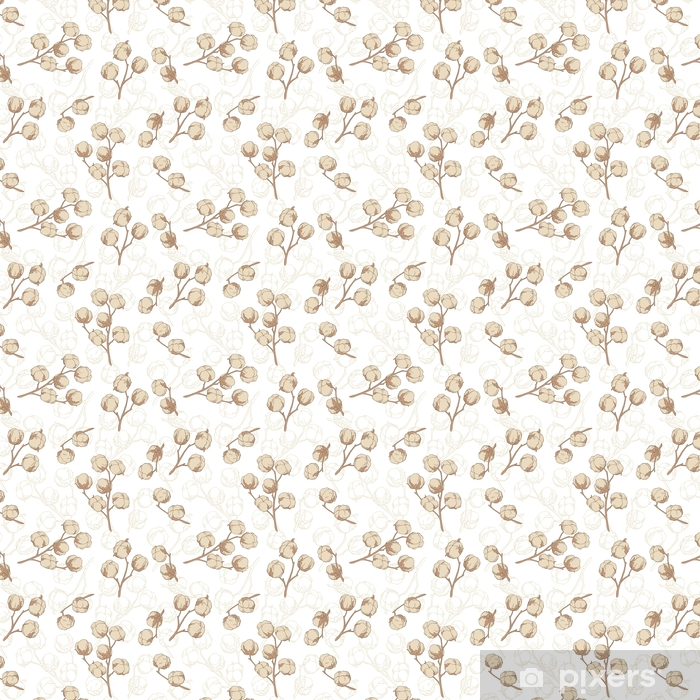 Zelfklevend behang, op maat gemaakt Katoenplant grafisch beige kleur naadloze patroon schets illustratie vector - Grafische Bronnen