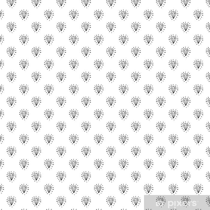 Tapeta na wymiar winylowa Wektor bez szwu cartoon wzór z niebieskimi diamentami. ręcznie rysowane czarno-biały wzór z biżuterią na papier, tekstylia, ręcznie robione dekoracje, złomowanie, poligrafia, ubrania, karty. - Zasoby graficzne