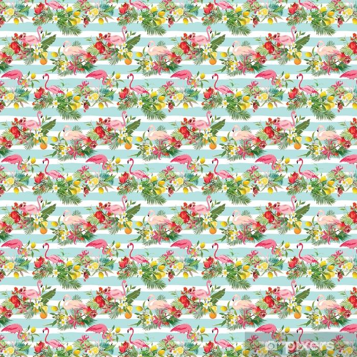 Zelfklevend behang, op maat gemaakt Tropische vruchten, bloemen en flamingo vogels naadloze achtergrond. retro zomer patroon in vector - Dieren