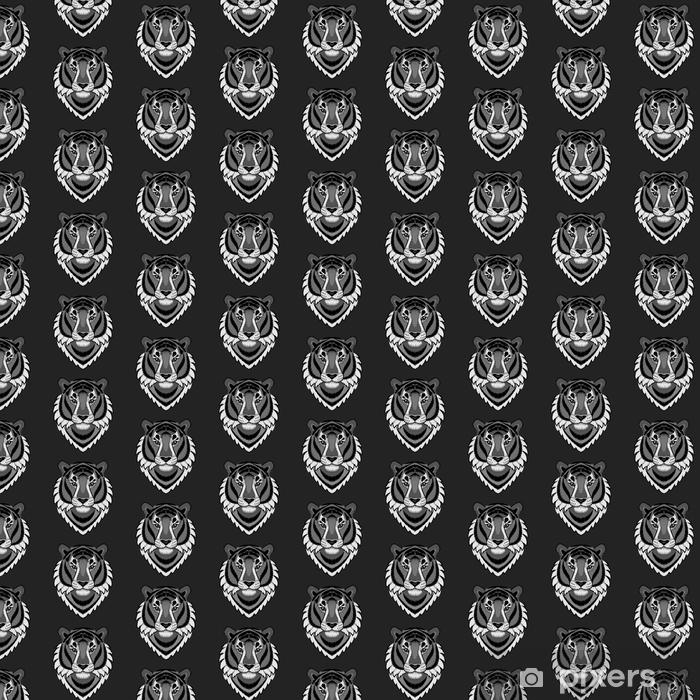 Vinyl behang, op maat gemaakt Borduurwerk tijger hoofd naadloze patroon - Hobby's en Vrije tijd