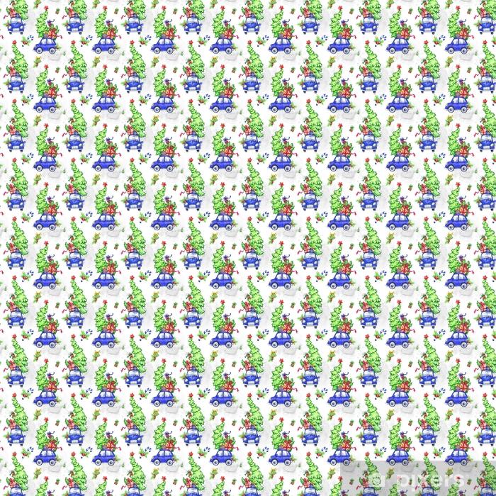 Dibujos De Arboles De Navidad Pintados.Papel Pintado Acuarela De Patrones Sin Fisuras Con Dibujos Animados Vacaciones Coches Arboles Y Regalos Ano Nuevo Ilustracion De Celebracion Feliz
