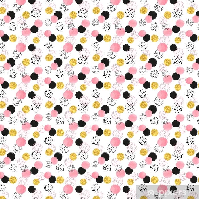Spesialtilpasset vinyltapet Sømløs prikket mønster med rosa, sorte og gyldne sirkler. vektor abstrakt bakgrunn med runde figurer. - Grafiske Ressurser