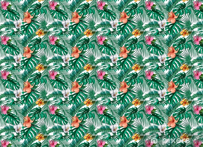 Papel pintado estándar a medida Vector tropical hojas, patrón transparente de hibisco - Recursos gráficos
