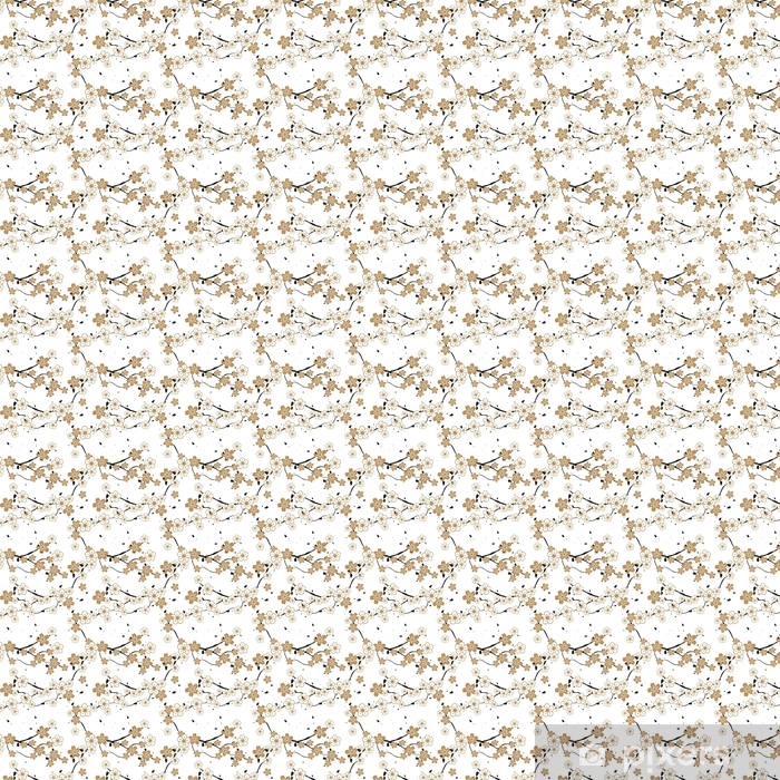 Seamless repeating pattern of blossoming flowers on a tree Self-adhesive custom-made wallpaper - Industry
