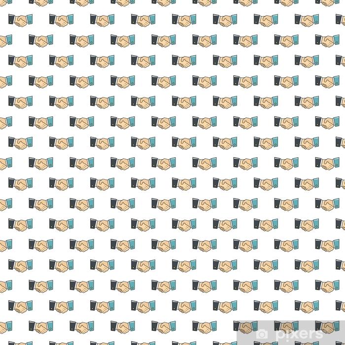 Papel pintado estándar a medida Patrón transparente de apretón de manos en estilo de dibujos animados aislado en la ilustración de vector de fondo blanco - Negocios