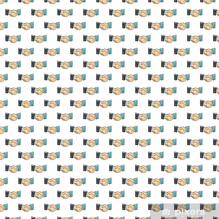 Handshake seamless pattern in cartoon style isolated on white background vector illustration Vinyl custom-made wallpaper - Business