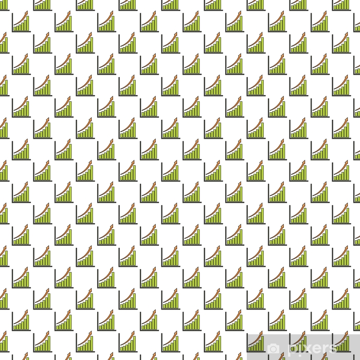 Chart with an arrow seamless pattern in cartoon style isolated on white background vector illustration Vinyl custom-made wallpaper - Business