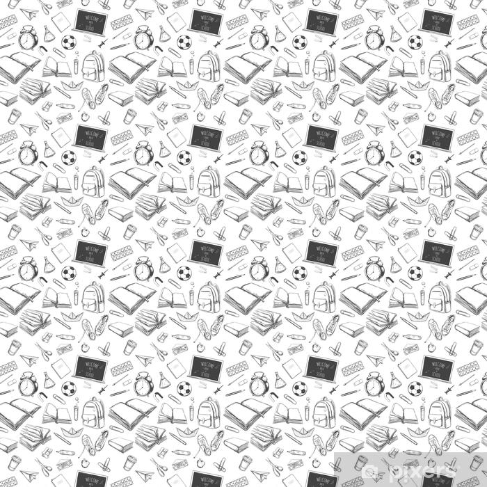 Papel pintado estándar a medida Bienvenido de nuevo a la escuela de patrones sin fisuras vector. elementos dibujados a mano. Suministros escolares. libros, cuaderno, cuaderno, mochila, lámpara, reloj despertador, fútbol, zapatillas de deporte, pizarra, lápiz, marcador, borrador - Estilo de vida