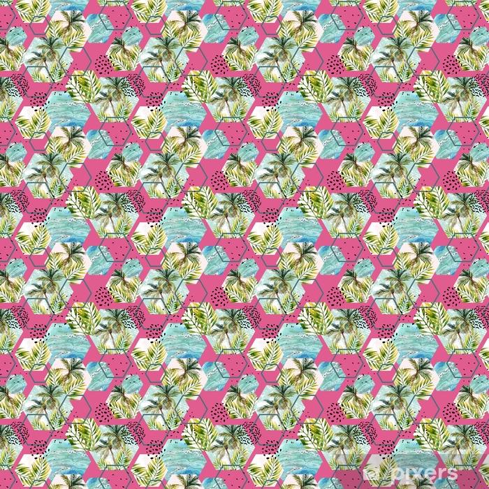 Tapeta na wymiar winylowa Akwarela tropikalny liści i palmy w geometryczne kształty wzór - Zasoby graficzne