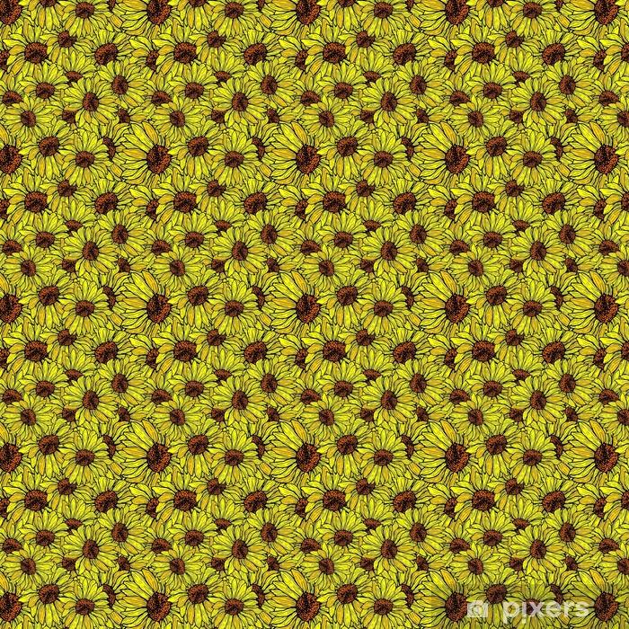 Słonecznik bez szwu, strzaskany wzór. kwiatowy tło wektor ręcznie rysowane ilustracji