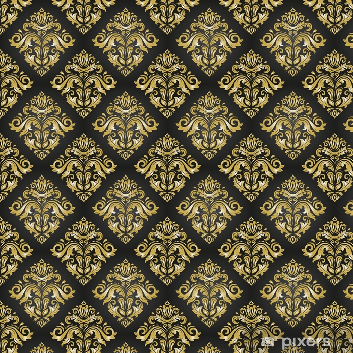 Oriental classic black and golden pattern. Seamless abstract background with repeating elements. Orient background Vinyl custom-made wallpaper - Graphic Resources