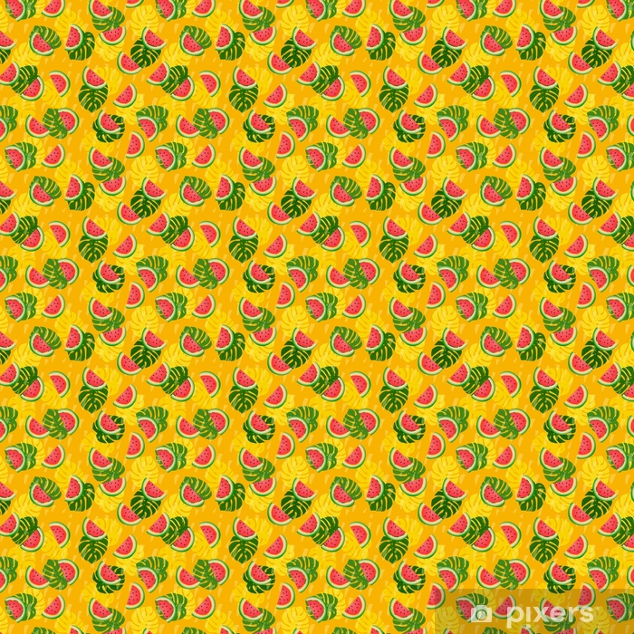 Abstract summer colored seamless patterns With tropical leaves and watermelons Vinyl custom-made wallpaper - Graphic Resources