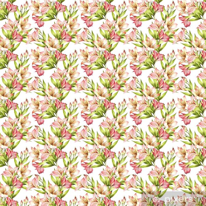 Vinyl behang, op maat gemaakt Naadloze patroon met alstroemeria. hand tekenen aquarel illustratie. - Bloemen en Planten