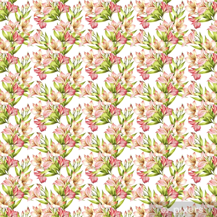 Seamless pattern with alstroemeria. Hand draw watercolor illustration. Vinyl custom-made wallpaper - Plants and Flowers