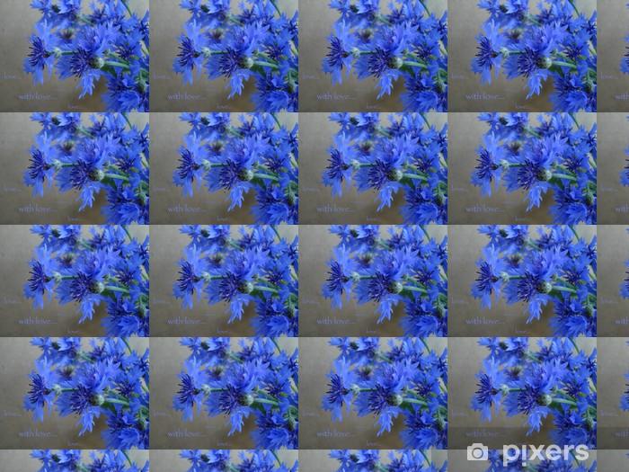 Tapeta na wymiar winylowa Karty z niebieskim goździka i słów - z miłością - Kwiaty