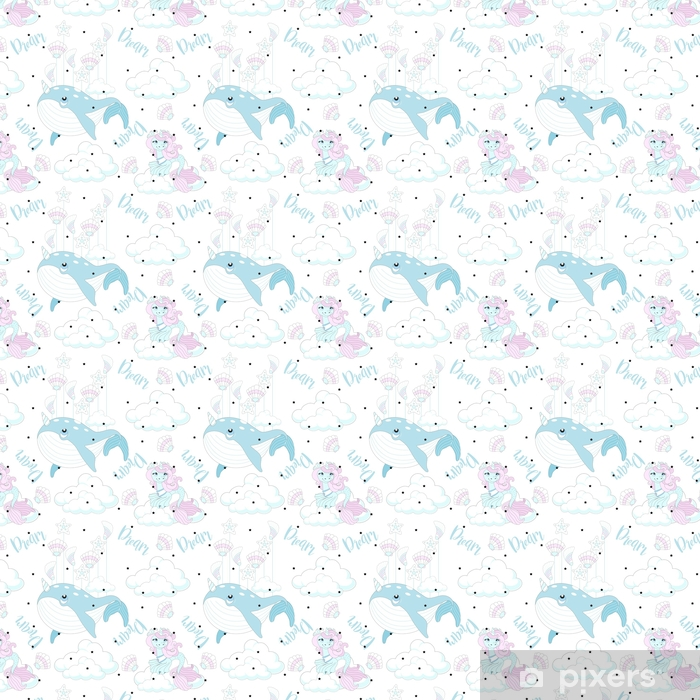 Seamless pattern with cute unicorn  Beautiful background with clouds   Vector illustration  Wallpaper - Vinyl Custom-made