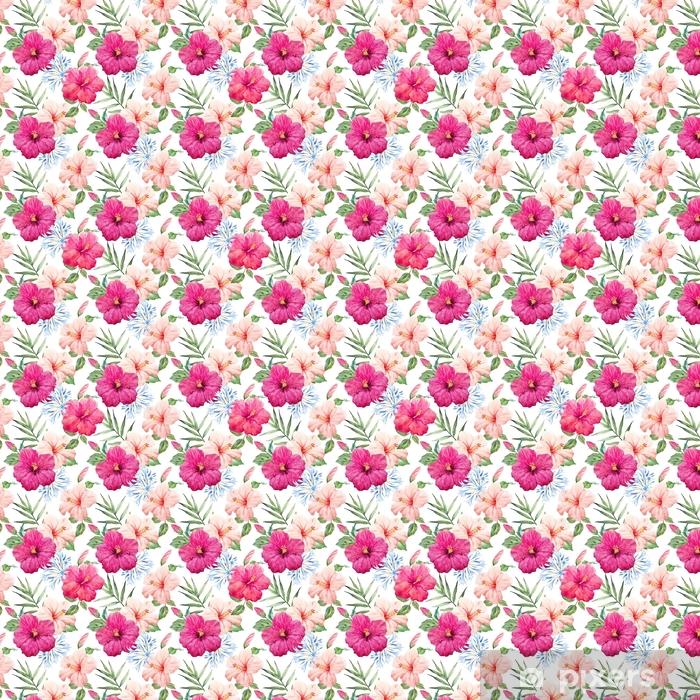 Zelfklevend behang, op maat gemaakt Waterverf tropisch hibiscuspatroon - Bloemen en Planten