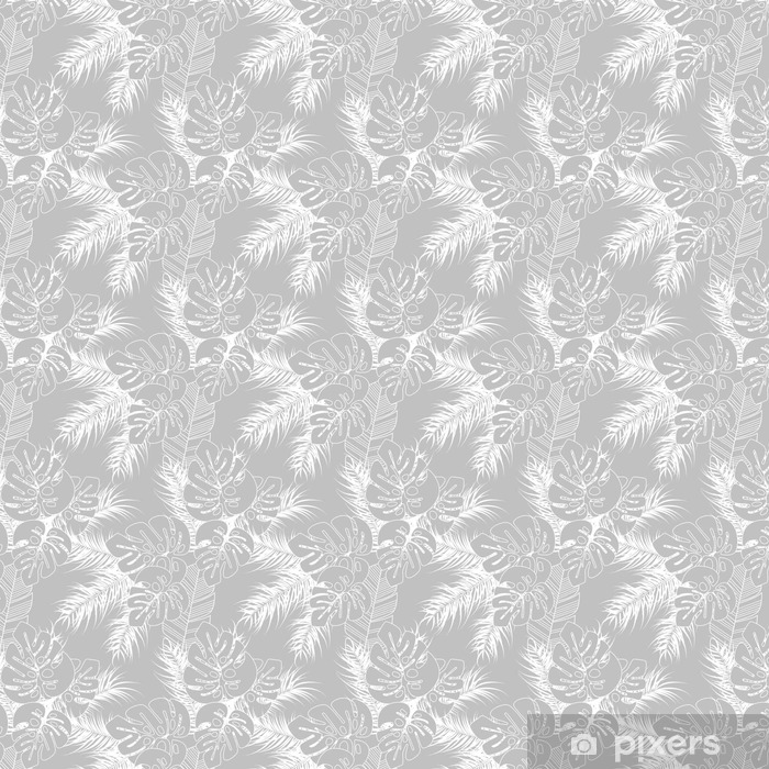Summer seamless tropical pattern with monstera palm leaves and plants on gray background Vinyl custom-made wallpaper - Graphic Resources