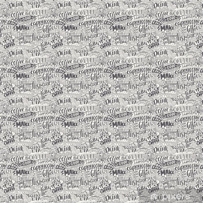 Tapeta na wymiar winylowa Bezszwowe napis wzór kawy z cytatów. ręcznie rysowane ilustracji wektorowych - Zasoby graficzne