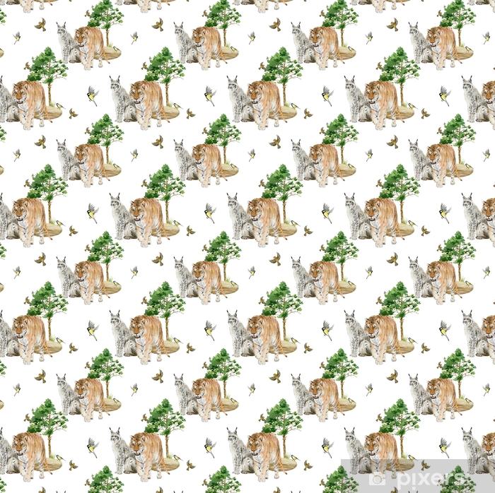 Sømløse Mønster Gentagne Fliser Af Akvarel Dyr Tapet Pixers Vi