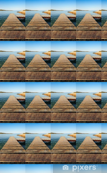 Wooden pier in Greece extending into the sea Vinyl custom-made wallpaper - Themes