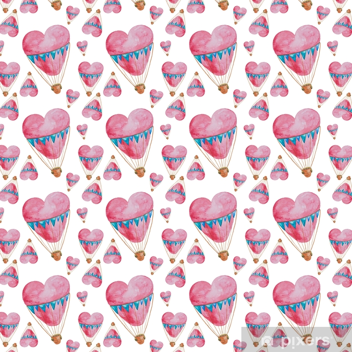 Seamless pattern of balloons in the shape of heart with baskets painted in watercolor Vinyl custom-made wallpaper - Transport