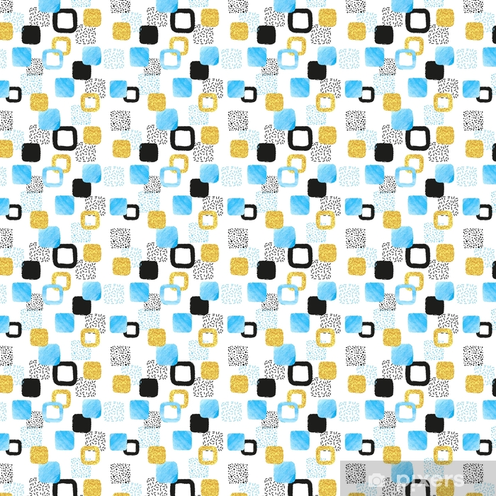 Seamless pattern with blue, black and golden squares. Vector abstract background with geometric shapes. Vinyl custom-made wallpaper - Graphic Resources