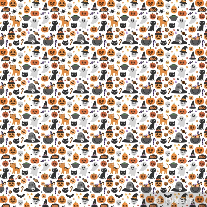 Papier peint vinyle sur mesure Vecteur mignon modèle d'halloween sans soudure. personnages de dessin animé souriants et drôles: potiron, fantôme, chat, chauve-souris, pot de bonbons. papier d'emballage, papier peint, arrière-plan extensible - Culture et religion