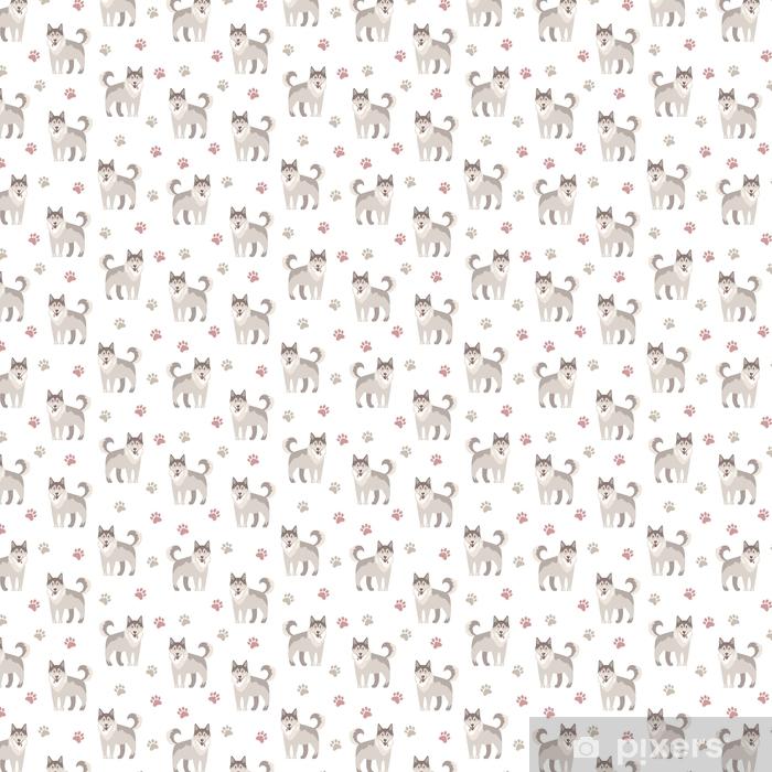 Papier peint vinyle sur mesure Illustration vectorielle plane. husky, gentil animal de compagnie amical. pat sans soudure - Animaux