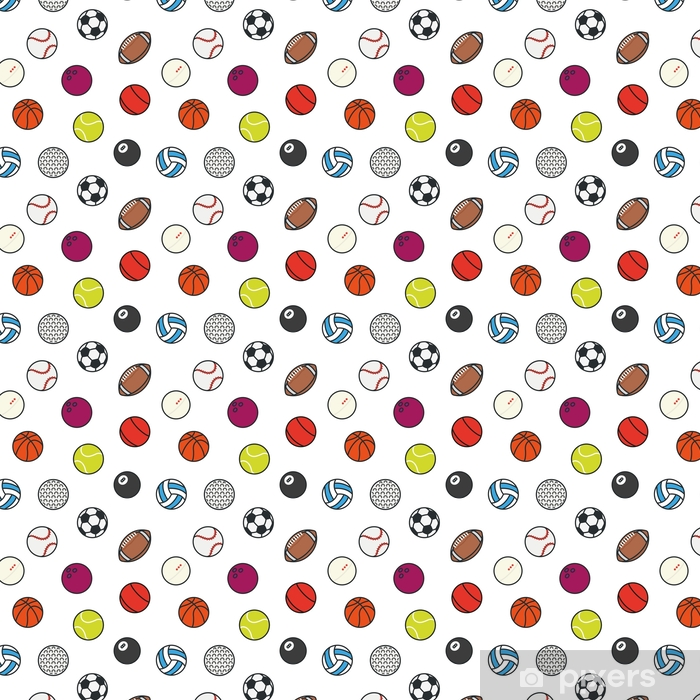 Seamless Pattern Sports Balls Minimal Color Flat Line Vector Icon Set. Soccer, Football, Tennis, Golf, Bowling, Basketball, Hockey, Volleyball, Rugby, Pool, Baseball, Ping Pong Self-adhesive custom-made wallpaper - Sports