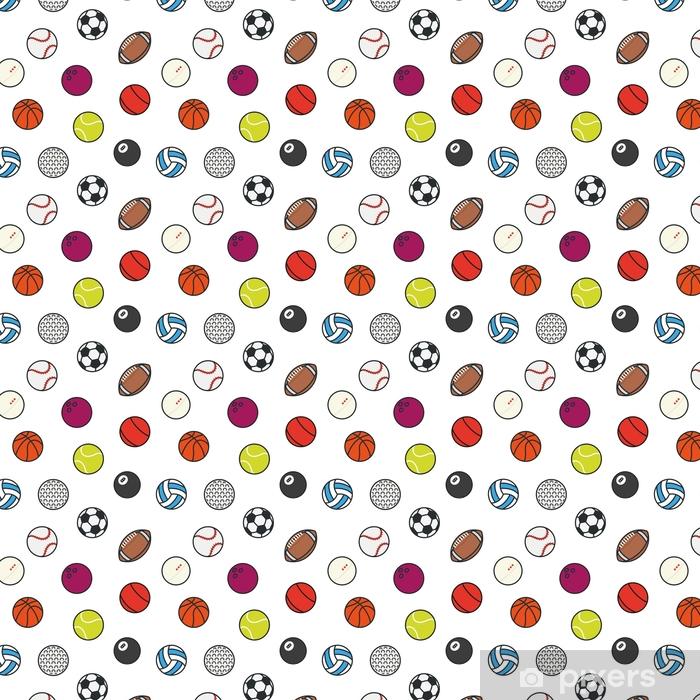 Zelfklevend behang, op maat gemaakt Naadloze patroon sport ballen minimale kleur platte lijn vector icon set. voetbal, voetbal, tennis, golf, bowling, basketbal, hockey, volleybal, rugby, zwembad, honkbal, tafeltennis - Sport
