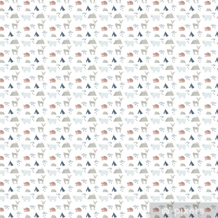 Vinyl behang, op maat gemaakt Naadloze bos dieren achtergrond met schattige herten, Beer en fox. cartoon stijl. - Dieren