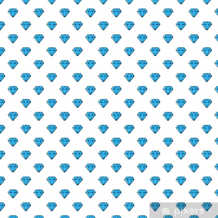 Vinyltapete nach Maß Vektor-Illustration. nahtlose Muster mit blauen Diamanten mit Kontur auf weißem Hintergrund - Grafische Elemente