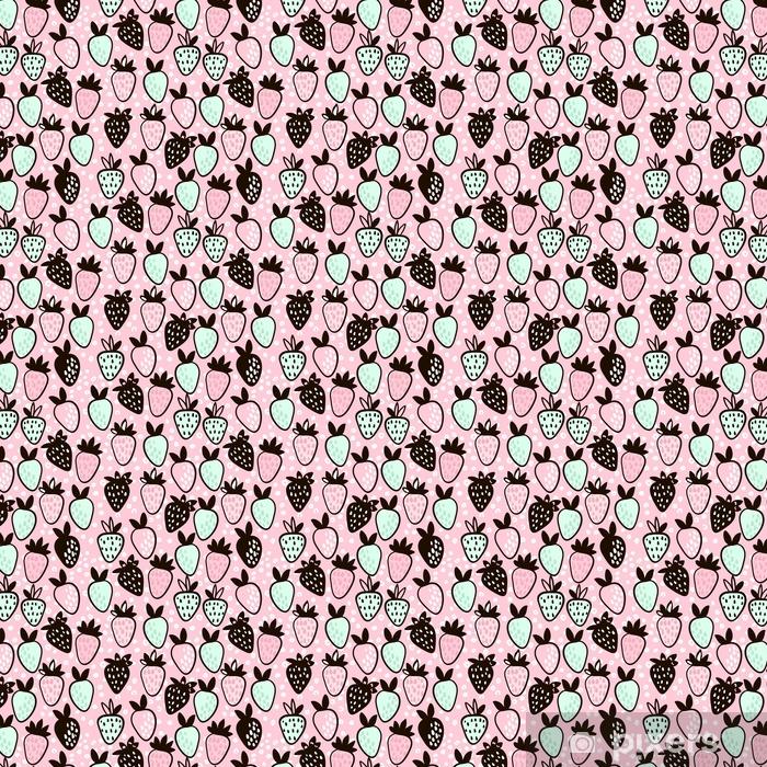 ff1b210a5 Tapet Sømløs mønster med håndlaget jordbær. søt rosa barnslig bakgrunn.  vektor illustrasjon. - spesialtilpasset