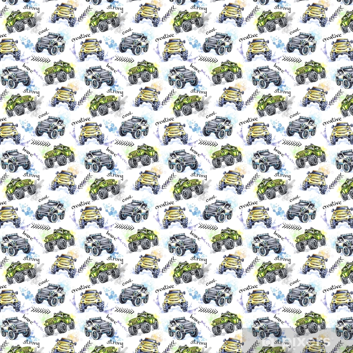 Watercolor seamless pattern Cartoon Monster Trucks. Colorful Extreme Sports background. 4x4. Vehicle SUV Off Road. Lifestyle. Man's hobby. Transport. Vinyl custom-made wallpaper - Transport