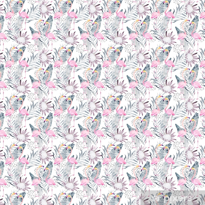 Tapeta na wymiar winylowa Abstrakcyjny tropikalny wzór z flamingo, protea, liście. akwarela bez szwu wydruku. ilustracja minimalizm - Zasoby graficzne