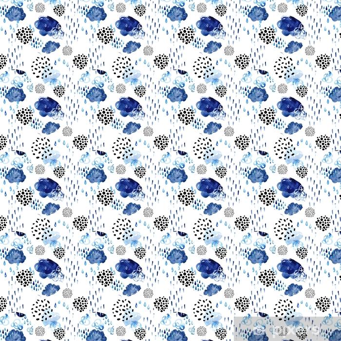 Vinyl behang, op maat gemaakt Aquarel val douche naadloze patroon. - Grafische Bronnen