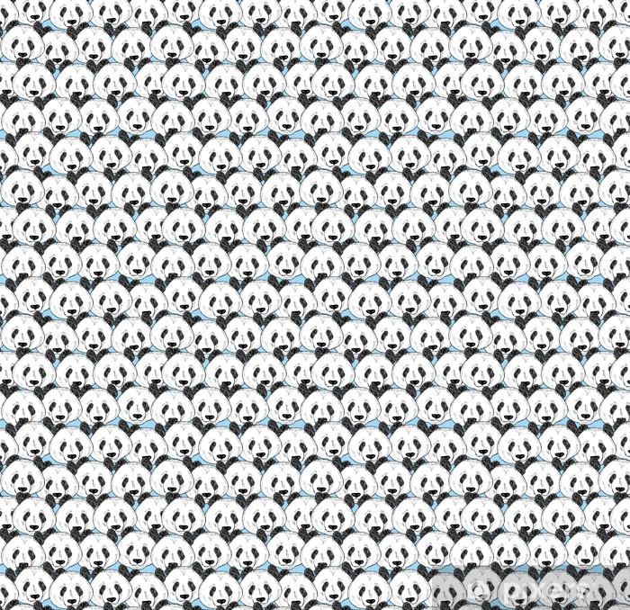 Seamless pattern with panda faces. Vinyl custom-made wallpaper - Animals
