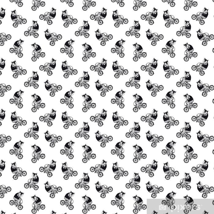 Patrón transparente divertido con oso pardo de dibujos animados lindo vestido con camisa oscura, montar en bicicleta sobre fondo blanco. dibujado a mano ilustración vectorial en estilo retro para fondo de pantalla, impresión de tela, papel de regalo.