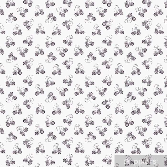 Lovely Seamless Pattern With Funny Cartoon Bear Wearing Dotted Bow