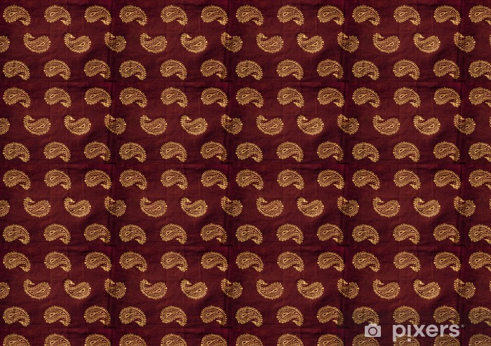 Traditional Indian Hand Printed Fabric With Mango Design Wallpaper Vinyl Custom Made